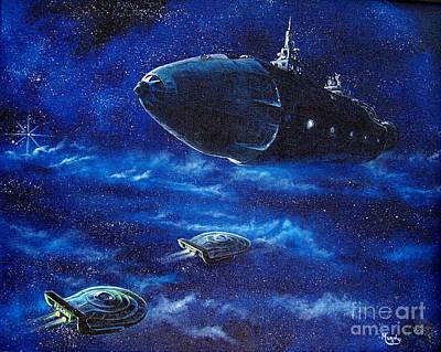 Flying Saucers Painting - Alien Spacecraft by Murphy Elliott