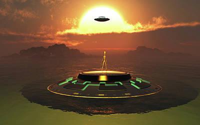 Alien Usos Emerging From Earths Watery Art Print by Mark Stevenson