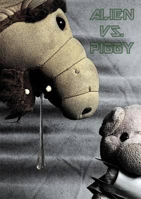 Alien Vs. Piggy Art Print by Piggy