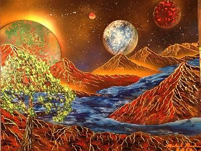 Art Print featuring the painting Alien Worlds by Michael Rucker