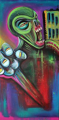 Alien Painting - Alien Zombie by Laura Barbosa