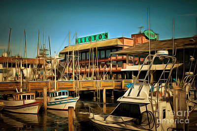 Pier 39 Digital Art - Aliotos Restaurant Restaurant Fishermans Wharf San Francisco California Dsc2039brun by Wingsdomain Art and Photography