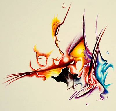 Colored Pencil Abstract Drawing - Alive by Martin Roskom