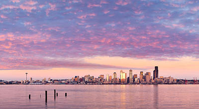 Alki Beach Pink Sunset Art Print