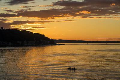 Canoe Photograph - Alki Sunset Waters by Mike Reid