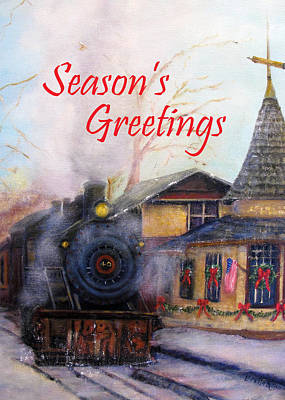 Painting - All Aboard At The New Hope Train Station Card by Loretta Luglio