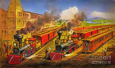 Lithograph Digital Art - All Aboard The Lightning Express 1874 by Lianne Schneider