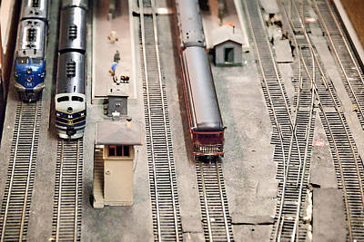 Model Trains At The Train Station Print by Vizual Studio