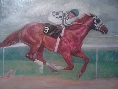 Belmont Stakes Painting - all alone in Belmont stakes by Yvette Eva  Hirsch