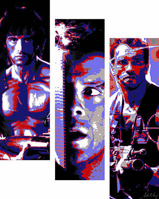 Stallone Digital Art - All-american 80's Action Movies by Dale Loos Jr