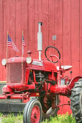 Farm Scene Photograph - All American Red Tractor by Heather Allen