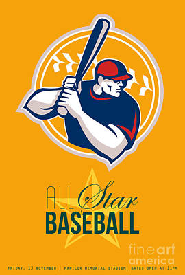 All-american Star Baseball Retro Poster  Print by Aloysius Patrimonio