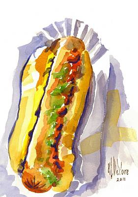 Drive In Painting - All Beef Ballpark Hot Dog With The Works To Go In Broad Daylight by Kip DeVore
