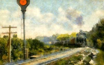 Telephone Poles Painting - All Clear On The Pere Marquette Railway  by Michelle Calkins