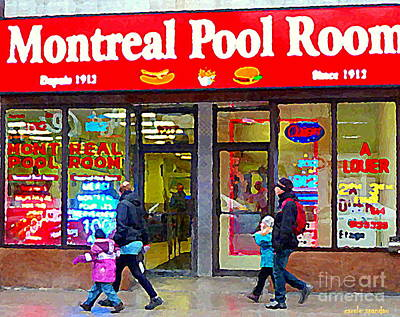 Montreal Memories. Painting - All Dressed Hot Dogs Montreal Pool Room Steamies Best Dogs In Town Urban Eatery Deli Scenes Cspandau by Carole Spandau
