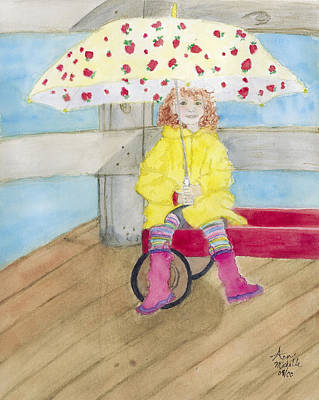 Little Red Wagon Painting - All Dressed Up And Ready For Rain by Ann Michelle Swadener