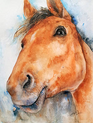 Horse Eye Painting - All Ears_ Horse Portrait by Arti Chauhan