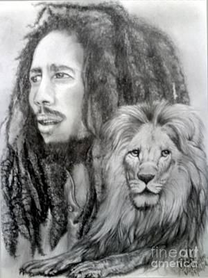 Rasta Drawing - All Hail The King by Chad Johnson