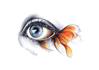 Eyelash Drawing - All I See Is A Sea by E Drawings