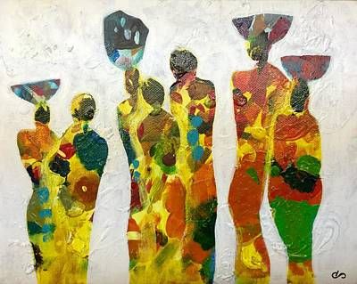 Tribute To Women Painting - All In A Day's Work by Clarisse Pastor-Medina