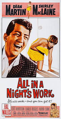 Dean Martin Poster Photograph - All In A Nights Work, Us Poster, Center by Everett