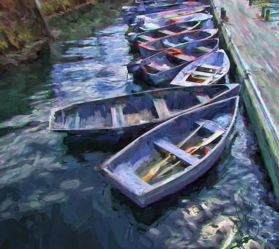 Row Boat Digital Art - All In A Row by David Francey