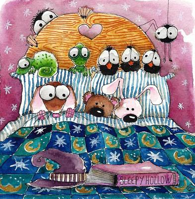 Bed Quilts Painting - All In The Bed by Lucia Stewart