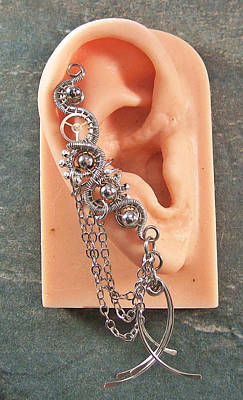 Ear Cuff Jewelry - All Metal Large Steampunk Ear Cuff by Heather Jordan