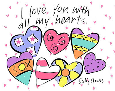 Wall Art - Painting - All My Hearts by Sally Huss