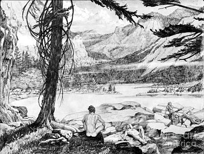 State Of Montana Drawing - All Natural by Gordon J Weber