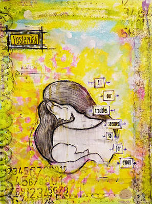 Child Mixed Media - All Our Troubles Seemed So Far Away by Lynn Colwell
