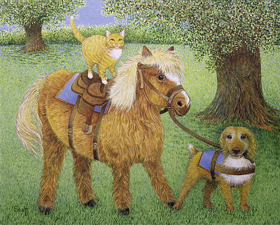 Shetland Ponies Photograph - All Part Of The Fun Oil On Canvas by Pat Scott