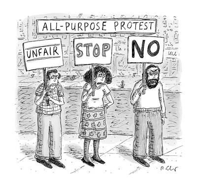 All-purpose Protest  -  Three Picketers Stand Art Print