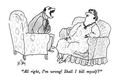 Wrong Drawing - All Right, I'm Wrong!  Shall I Kill Myself? by William Steig