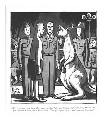 Kangaroo Drawing - All Right, Men, You Know The Rules As Well by Peter Arno