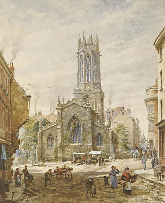 Church Architecture Painting - All Saints by Louise Ingram Rayner