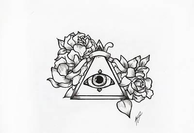 Illuminati Drawing - All-seeing Eye by Kayla Toomey