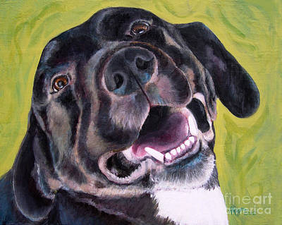 Painting - All Smiles Black Dog by Amy Reges