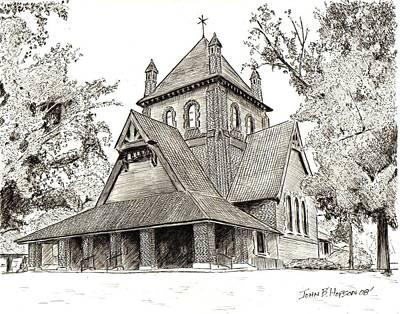 Asheville Drawing - All Souls Church by John Hopson