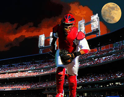 All Star Yadier Molina Art Print by John Freidenberg