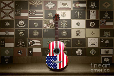 4th July Digital Art - All State Flags - Retro Style by Peter Awax