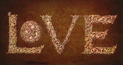 Manuscript Mixed Media - All We Need Is Love by Terry Fleckney