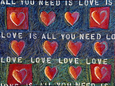 Cardboard Mixed Media - All You Need Is Love 2 by Gerry High