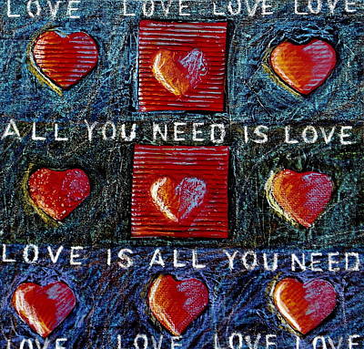 Cardboard Mixed Media - All You Need Is Love 3 by Gerry High