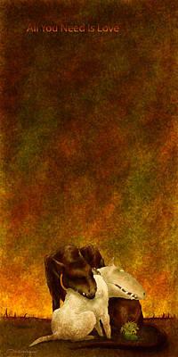 Bull Terrier Digital Art - All You Need Is Love by Dmitry Rezchikov
