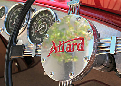 Old Car Photograph - Allard Steering Wheel by Steve Natale
