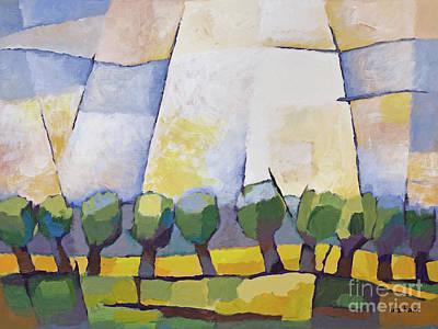 Cubism Painting - Allee Mit Rapsfeld by Lutz Baar