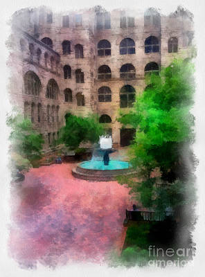 Allegheny County Digital Art - Allegheny County Courthouse Courtyard by Amy Cicconi