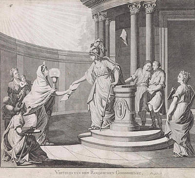 Virgo Drawing - Allegory Equating The Roman Catholic Religion With Other by Carel Frederik Bendorp I And Pieter Luyten And G.j. Derens