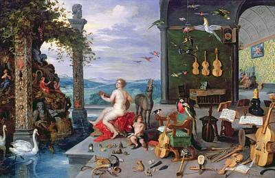 Lute Photograph - Allegory Of Music Oil On Canvas by Jan the Elder Brueghel